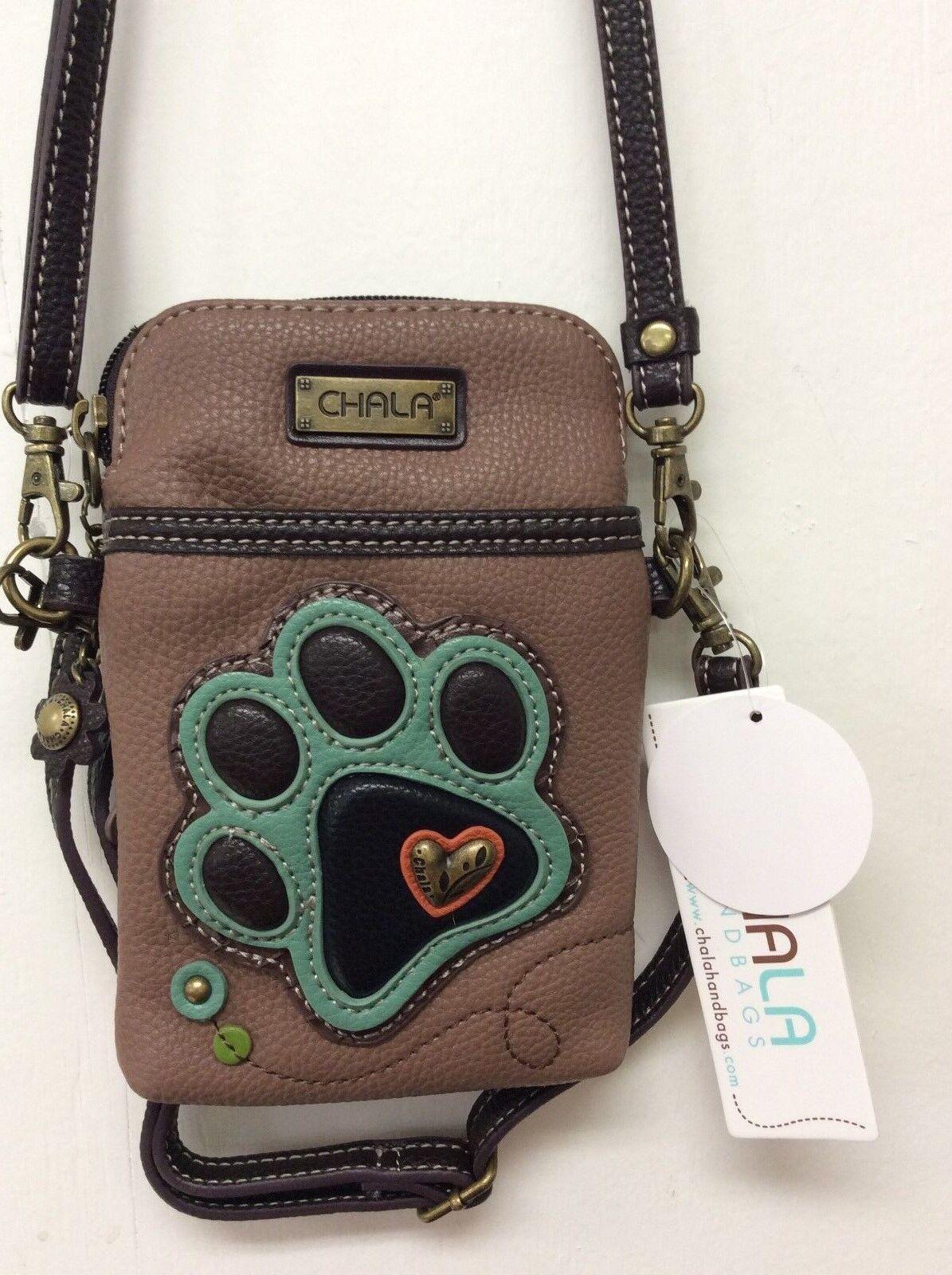 Chala Dog Paw Print Cell Phone Crossbody Small Convertible P