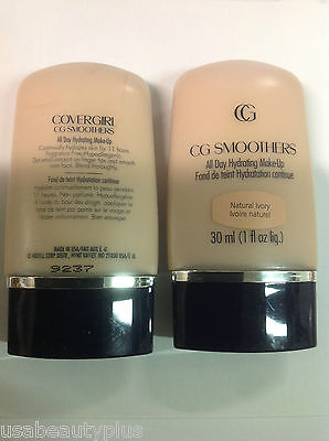 2 X CoverGirl CG Smoothers All Day Hydrating Makeup Foundation NATURAL IVORY.