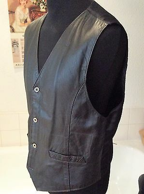 """vintage black soft leather fully lined waistcoat ~ M 39-40"""""""