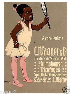 POSTCARD GERMAN STOCKINGS WAGNER ARTIST-SIGNED CARL MOOS BLACK GIRL ADVERTISING