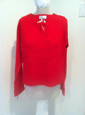 NEW Hand knit Style RED CABLE Knit SWEATER Junior SIZE L 40