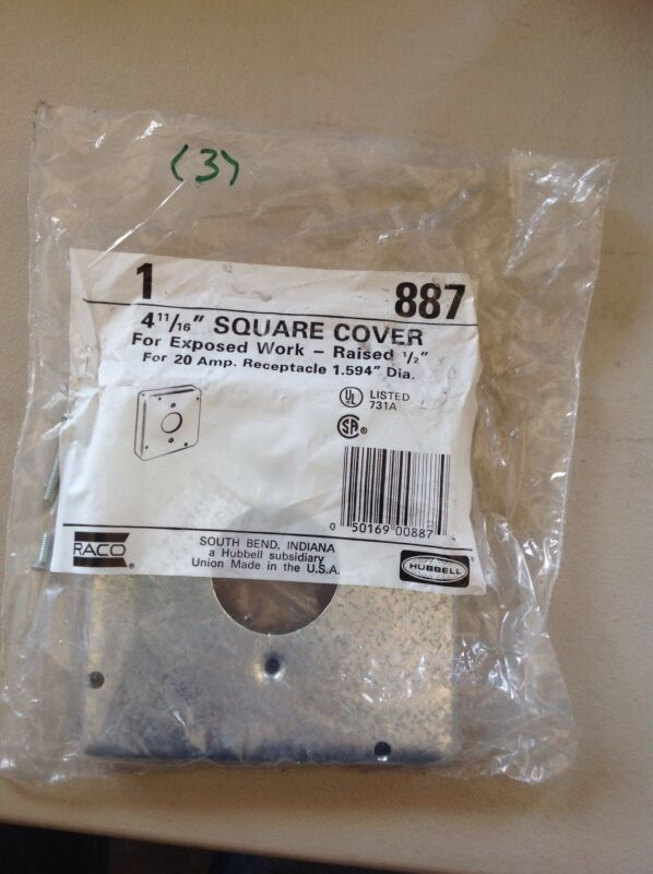 "NEW(1) RACO 887 SQUARE COVER 4 11/16"", RAISED 1/2"","