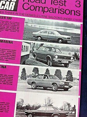 AUTOCAR ROAD TEST COMPARISONS 1971 - CHRYSLER 180, MARINA TC, CORTINA, VX4/90