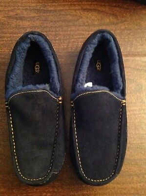 UGG Men's Ascot Navy and Yellow Suede Slippers Size:12  New in Box
