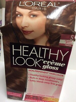 10 X imperfect box L'Oreal Healthy Look Gloss Hair Color Medium Brown/Truffle #5