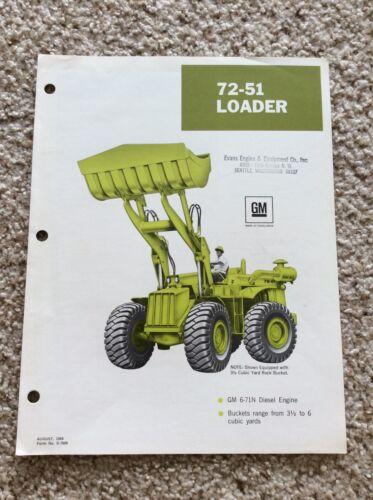 1968  GM 72-51 Loader original factory printed sales handout
