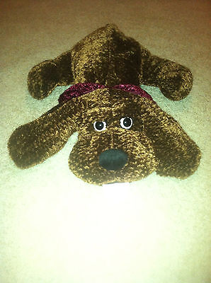 """MINT Vintage Kid Of America 20"""" CHENILLE Bloodhound Dog Layin Down Big Ear Brown"""