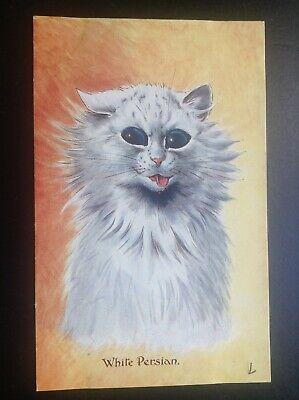 Carte postale fantaisie chat cat Louis Wain White persian