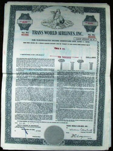Debenture bond Trans World Airlines Inc TWA dated 1961