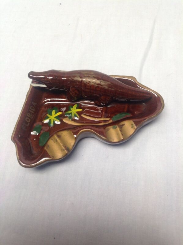 Vintage Florida Souvenir Alligator Gator Ceramic Ashtray