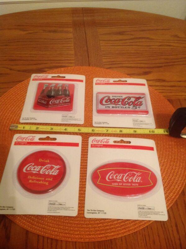 Coca-Cola Tin Magnets. Set of Four (4).