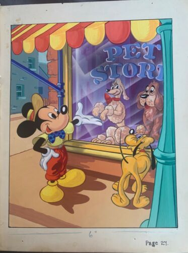 RARE DISNEY STUDIOS 1953 HAND PAINTED STORY BOOK ART LARGE MICKEY MOUSE PLUTO