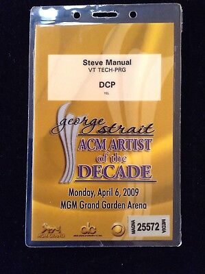 GEORGE STRAIT RARE ALL ACCESS WORKING CREDENTIAL LAMINATE MGM LAS VEGAS 4/6/2009