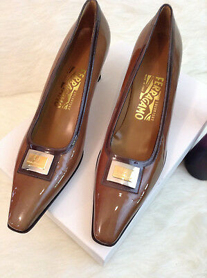 NEW, Brown Patent Leather Heels by Salvatore Ferragamo, Sz 8 1/2 AA