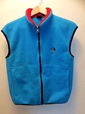 Vintage The North Face Fleece Zip Turquoise Vest M Made in USA Black Label