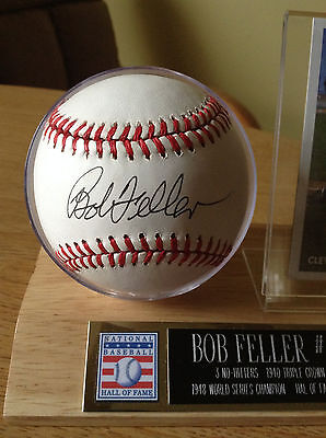 (Cleveland Indians Bob Feller Autographed Bobby Brown Baseball With Display Case)