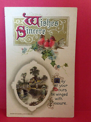 Wishes Sincere Sweet Handwritten Note Embossed Birds Antique Postcard Posted