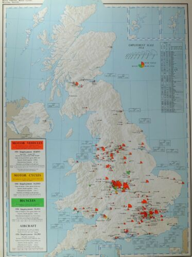 VINTAGE LARGE MAP of BRITAIN MOTOR VEHICLES CYCLES BICYCLES AIRCRAFT EMPLOYMENT