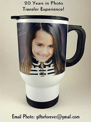 CUSTOM PERSONALIZED TRAVEL MUGS PICTURE PHOTO LOGO - Personalized Photo Travel Mugs