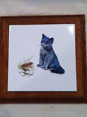 Monika Heller Cole Cat Kitten & Frog Tile Trivet Hot Plate Vintage Art