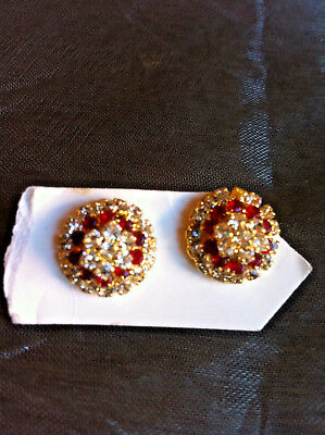 Diamante Cluster Earrings Red Wedding Party Oriental Costume Jewellery Gift Idea - Costume Wedding Ideas