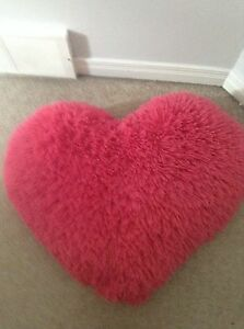 BIG PINK FLUFFY HEART PILLOW