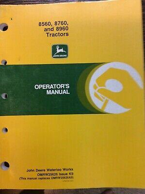 John Deere Owner Operator Manual 8560 8760 8960  Omrw25626 K9