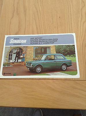 Sunbeam Range Colour Fold Out Sales Brochure Ref 9307/H  c 1966