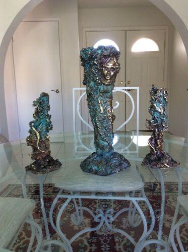 RARE D.Halverson Signed Vintage 1980s Bronze Sculpture Vase & Candlesticks
