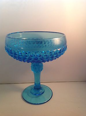 Indiana Glass Compote Diamond Point Horizon Blue 7 1/4""