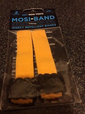 2 Mosi Band, Yellow Deet Based Dry Non Toxic, Mosquito Insect Repellent Bands.
