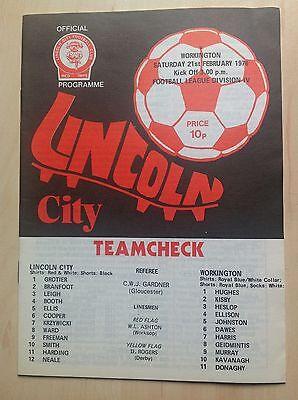 Lincoln v Workington 1975-76 programme