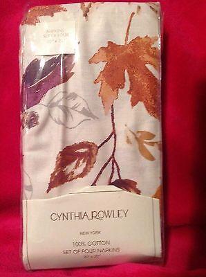 NEW Cynthia Rowley Cotton 4 pk Napkins Beige Fall Leaves 20 x 20 Gold Burgundy