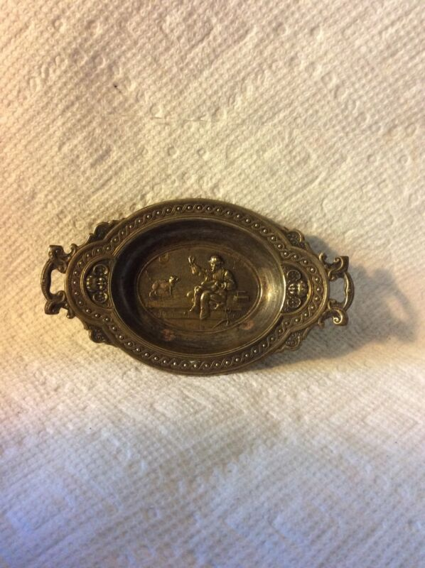 ANTIQUE SEWING-VICTORIAN BRASS NEEDLE TRAY-TAILOR-CAT-SPIDER WE