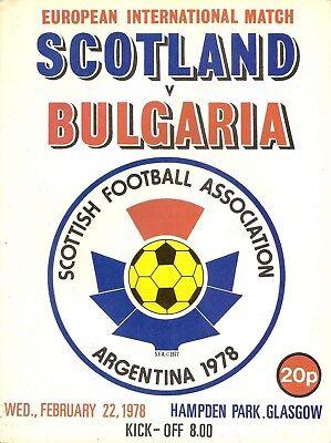 Scotland v Bulgaria - Friendly International - 1978