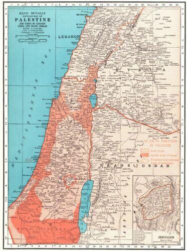 1946 Antique PALESTINE Map Jerusalem Map Syria Lebanon Trans Jordan Map 7794