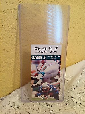 NEW ENGLAND PATRIOTS GAME TICKET NOVEMBER 3, 1996 FOXBORO STADIUM