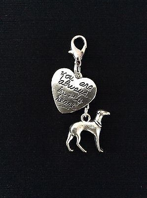 Greyhound Whippet Lurcher Dog Heart Charm clip tag