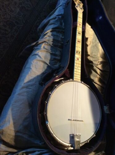 "Antique Concertone 4 String Banjo ""Show Piece"" Inlaid wood resonator Back"