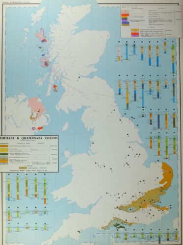 VINTAGE LARGE MAP of BRITAIN TERTIARY & QUATERNARY SYSTEMS RED CRAGS LONDON CLAY