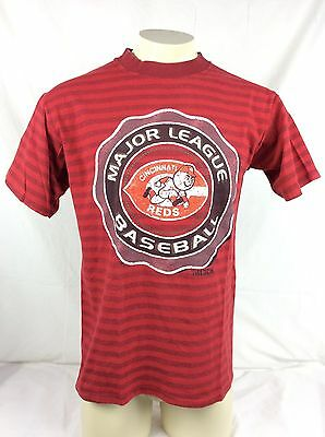 Vintage MLB Cincinnati Reds Striped Red Graphic T Shirt Mens LG Made in USA