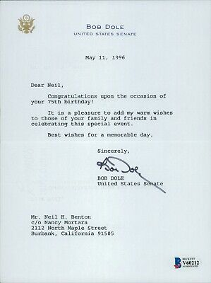Bob Dole Signed United States Senate Typed Letter JSA Authenticated