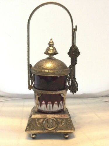 """VICTORIAN PICKLE CASTOR WITH HINGED LID AND HANDLE 13"""" TALL"""