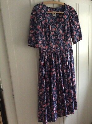 Laura Ashley Vintage 1980's Floral Cotton Tea Dress, Size 10/12, VGC 🌺