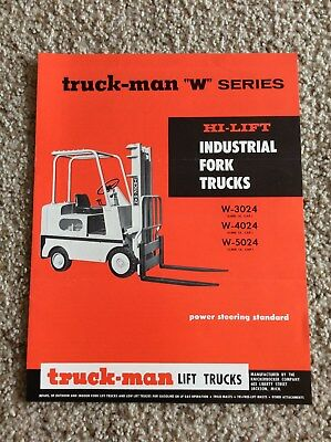 1960s Truck-man Lift Trucks W-series Original Factory Printed Sales Literature