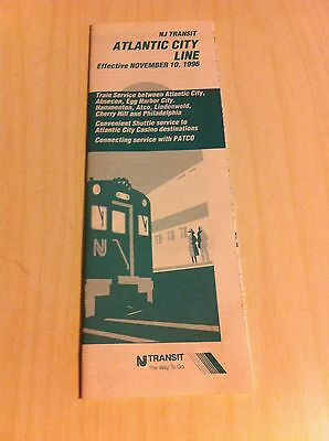 Vintage Nj Transit New Jersey Atlantic City Line 1996 Schedule Guide Cherry Hill