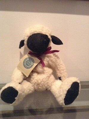 "Boyds SHEEP Lamb 14"" Jointed Plush JB Bean White Woolly Black Face Ears"