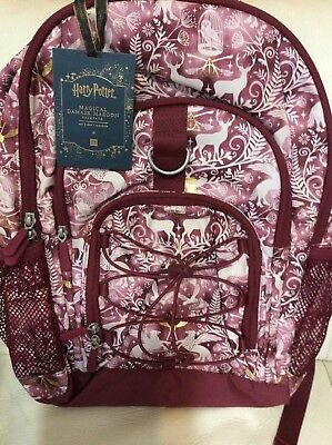 Pottery Barn Teen Harry Potter Backpack NWT! Magical Damask Burgundy No (Harry Potter Mono)