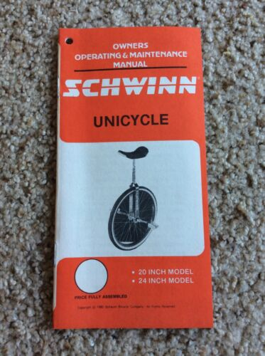1985 Schwinn  Unicycle,  owners manual