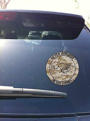 10-04 US Navy Frogman Seal Never Forgive Never Forget Window sticker decal